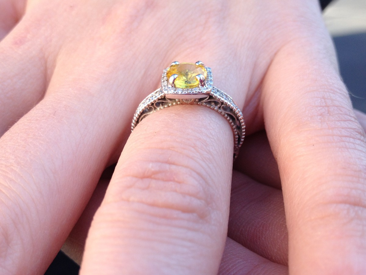 Verragio Designer Engagement Ring with 1.22ct Yellow Sapphire