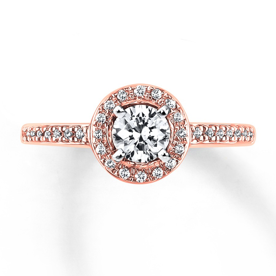 Diamond Engagement Ring 5/8 ct tw Round-cut 14K Two-Tone Gold