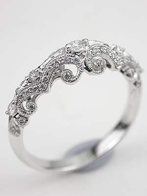 18k White Gold Vintage Engagement Ring.