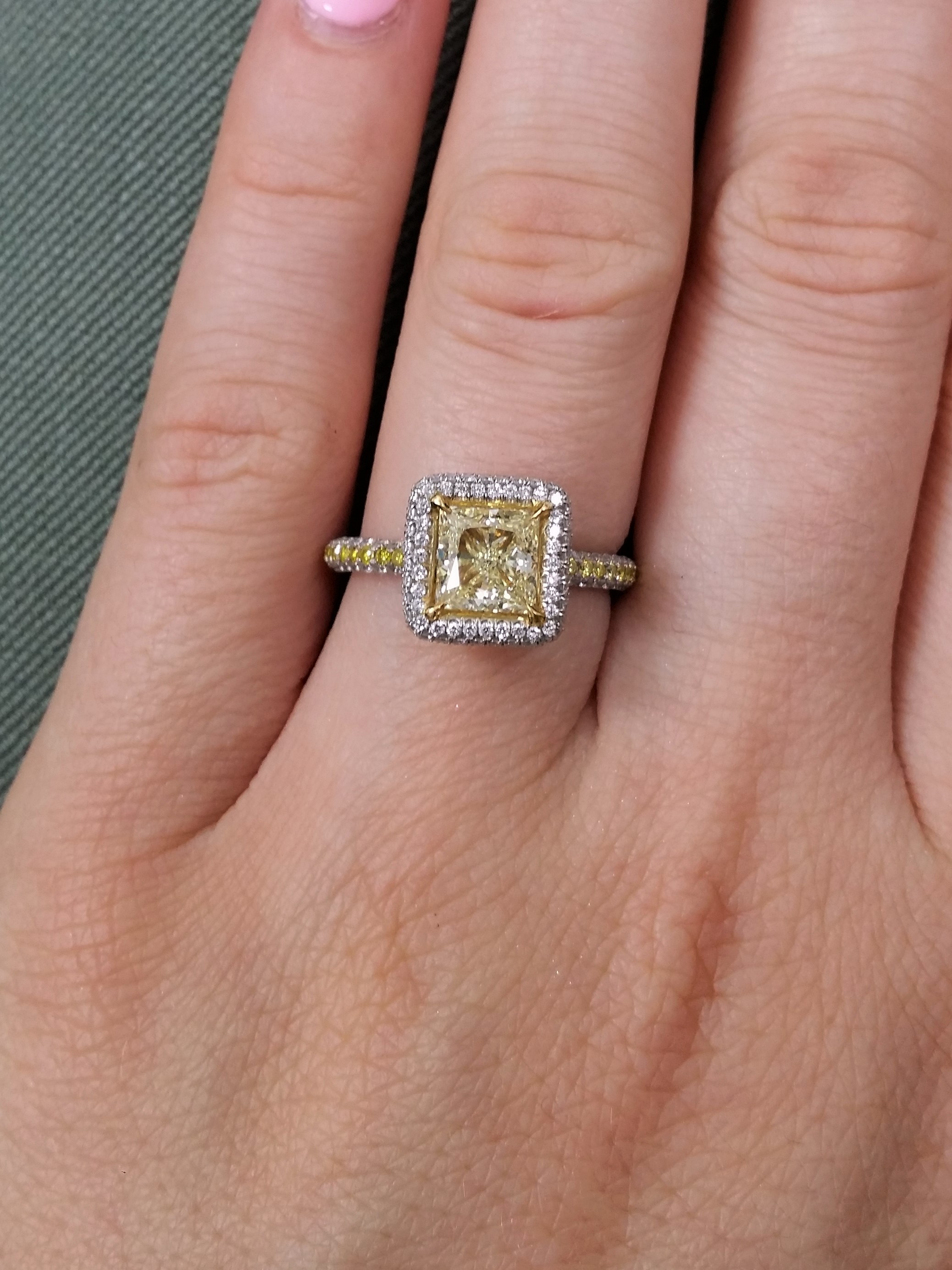 Gorgeous GIA certified 1.16cts princes cut fancy yellow diamond ring
