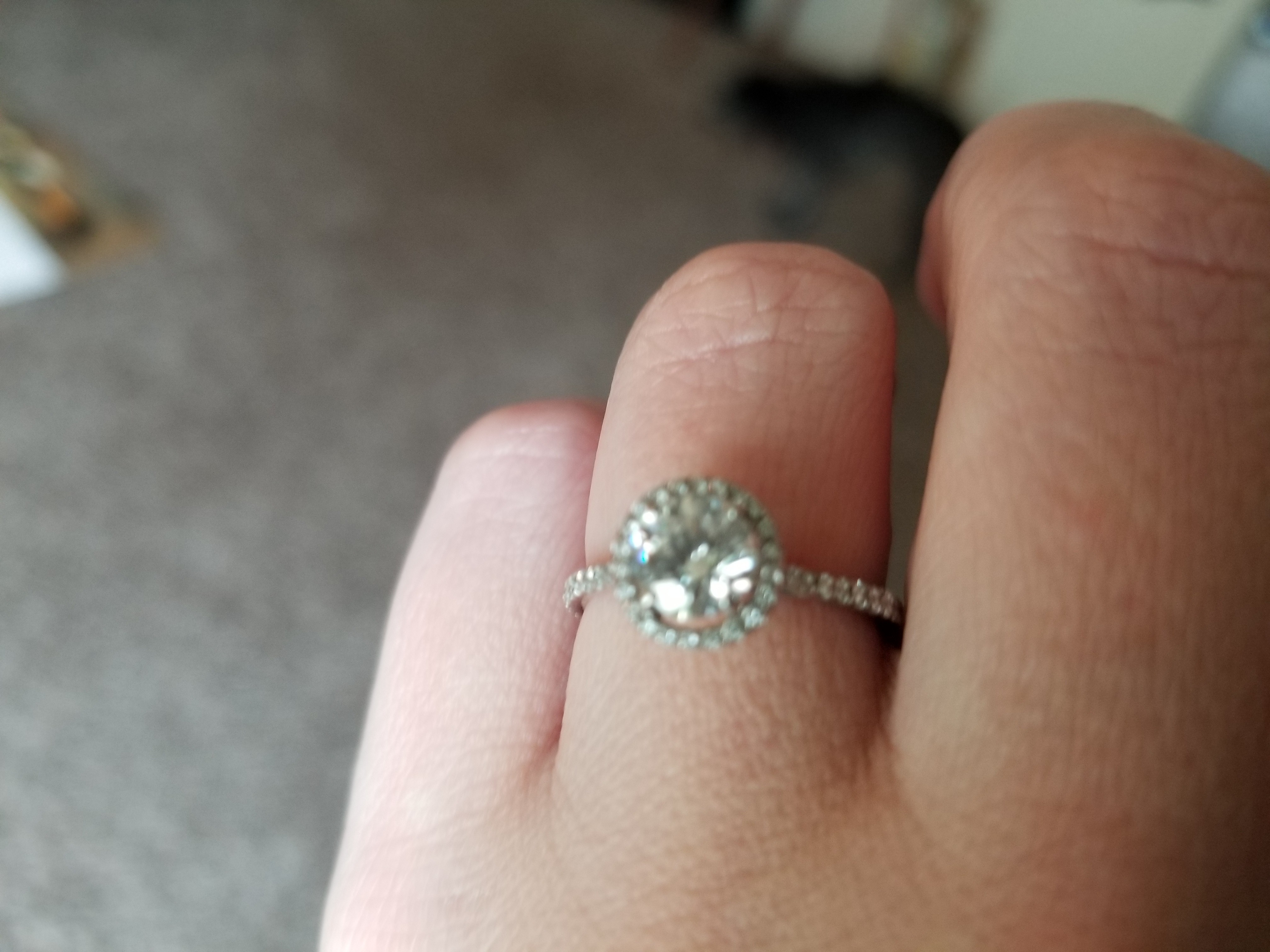 Floating Halo GIA 0.80ct Diamond  14kt WG Engagement Ring