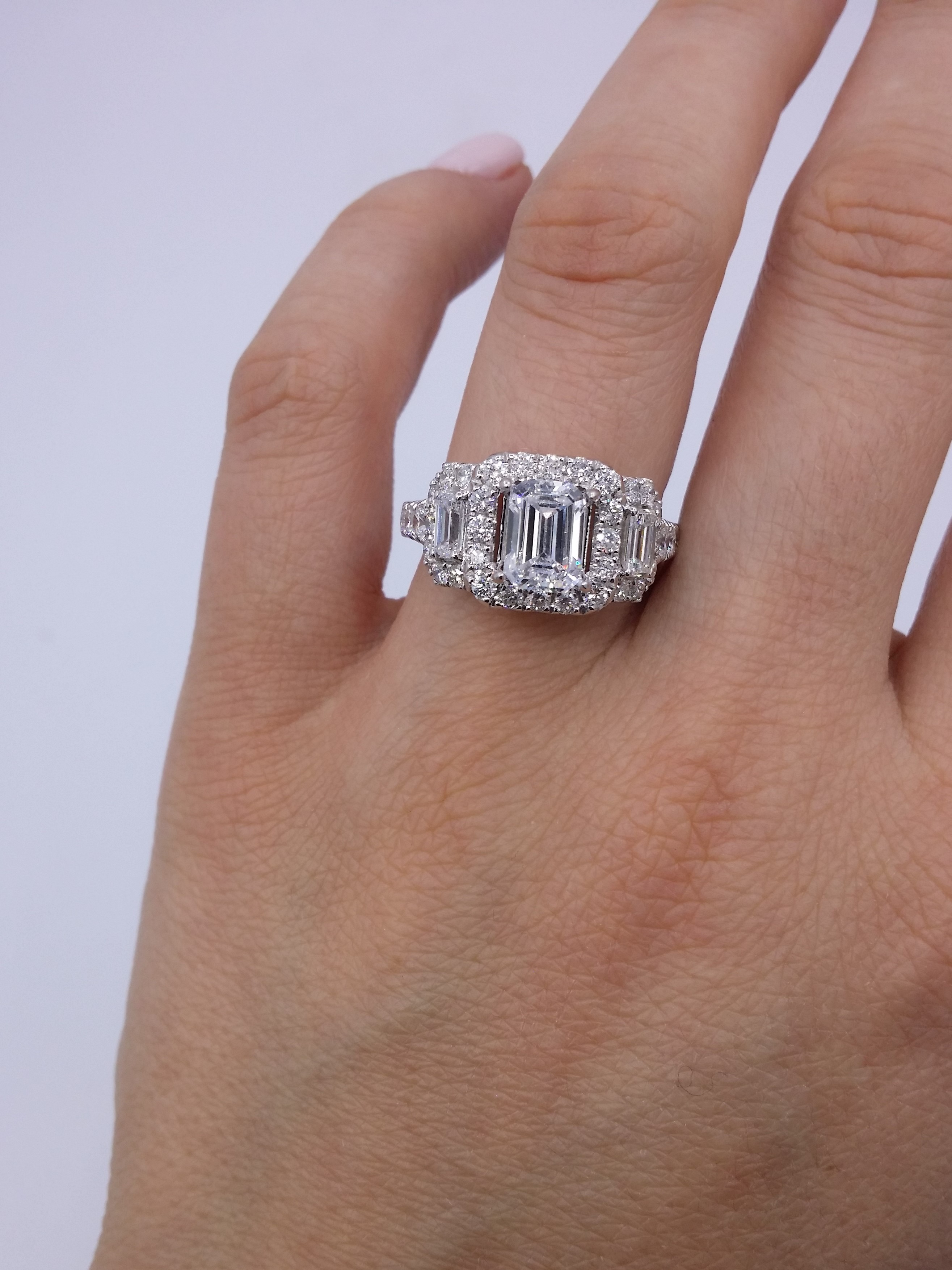 One of a Kind 3.05ct Three Stone Halo GIA Diamond Ring