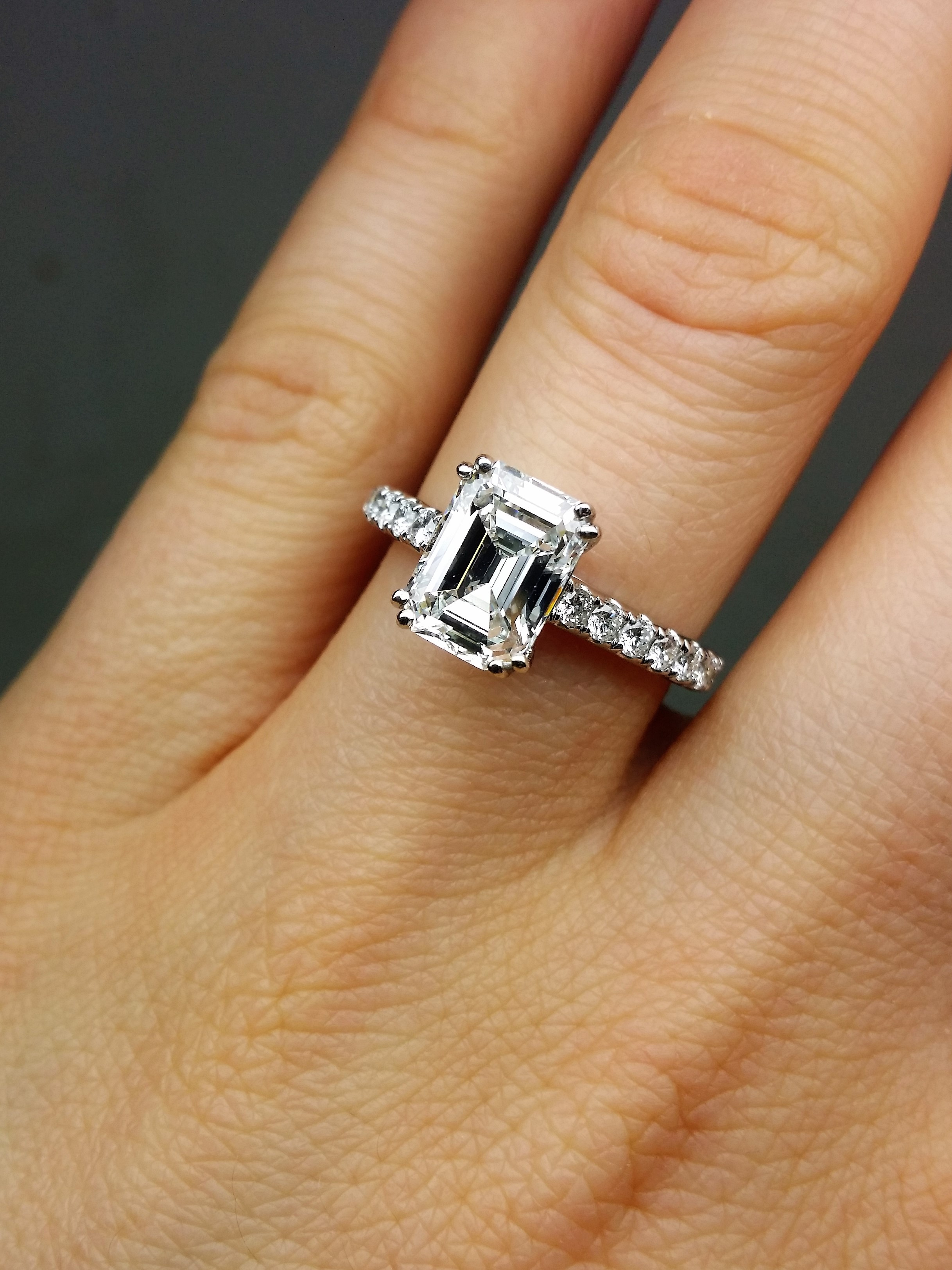 One of kind EGL certified  emerald cut diamond ring