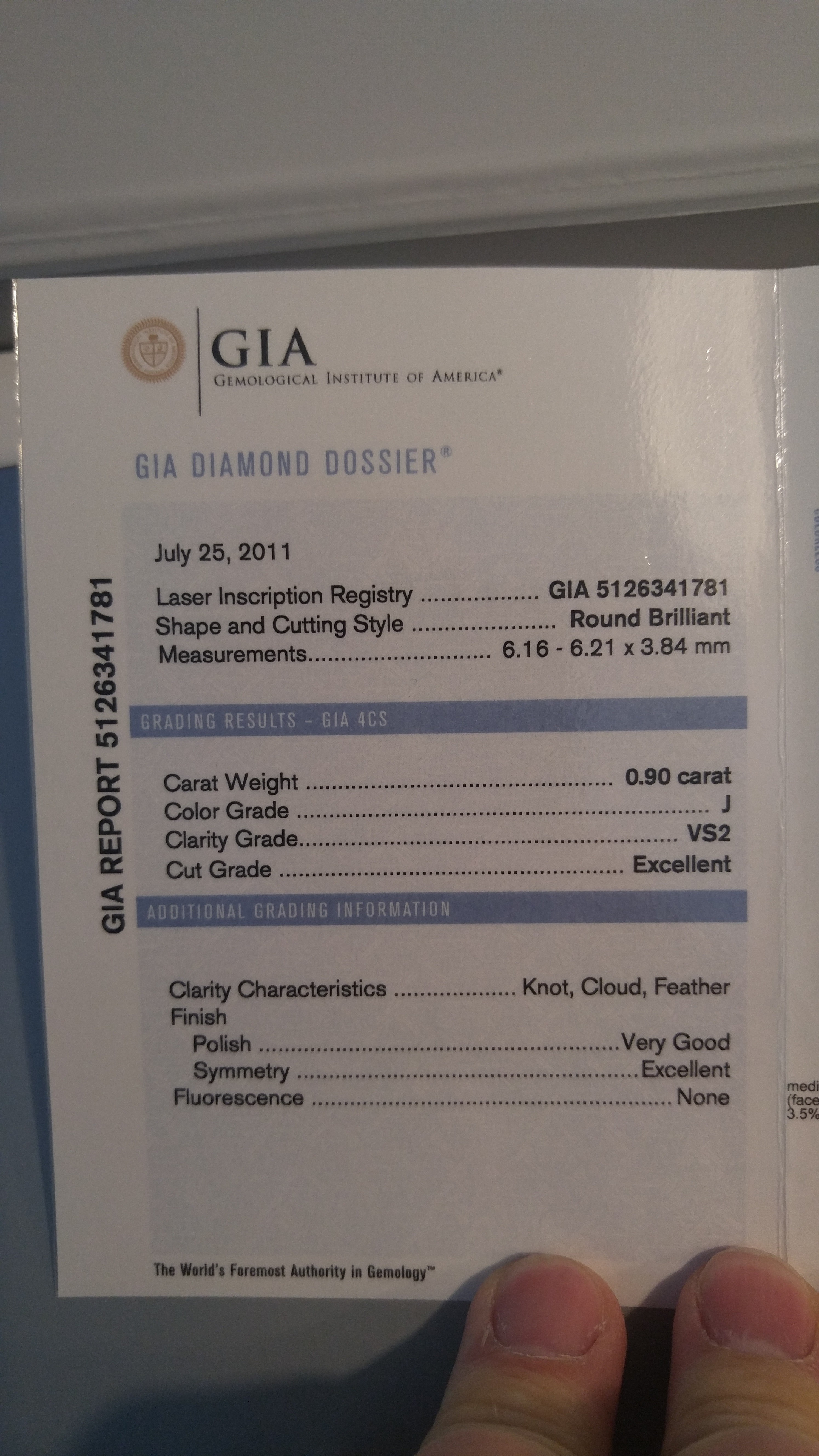 0.90 carat engagement ring, 1.35 total weight. Excellent cut & clarity