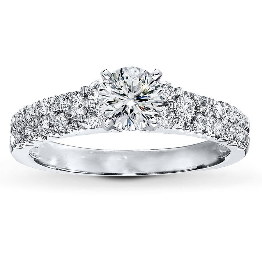 1.625 TCW - 1.00 CT ROUND LEO ARTISAN DIAMOND 14K WHITE GOLD SET
