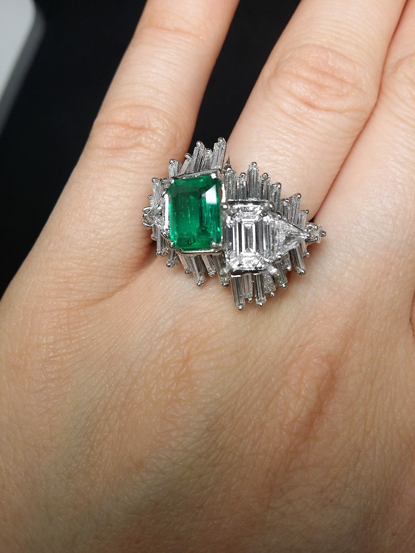 Timeless and Unique Antique GIA Ring with Green Colombian Emerald