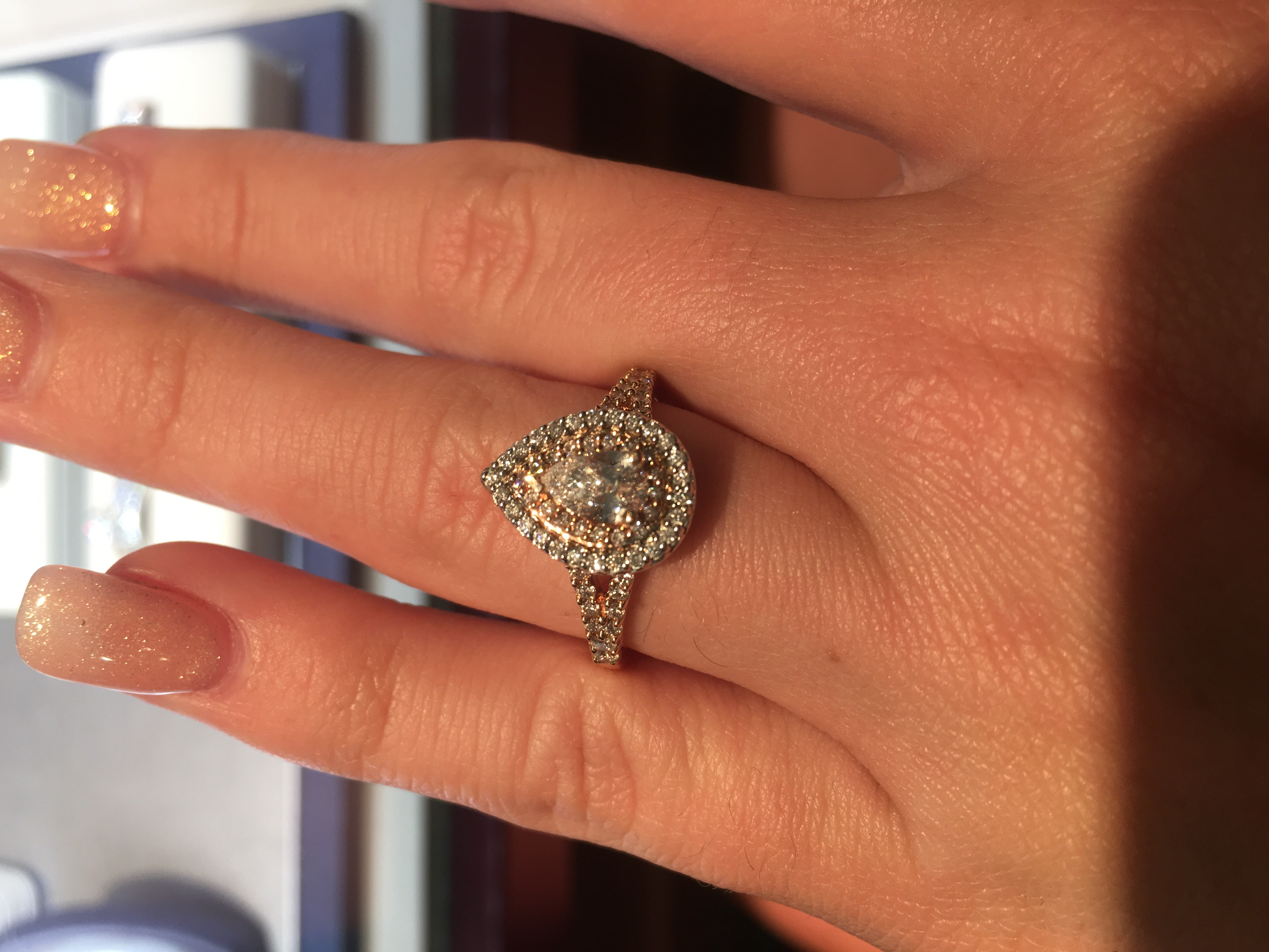 0.5ct Pear Shaped Diamond Two Tone Rose Gold Frame 1.0tcw