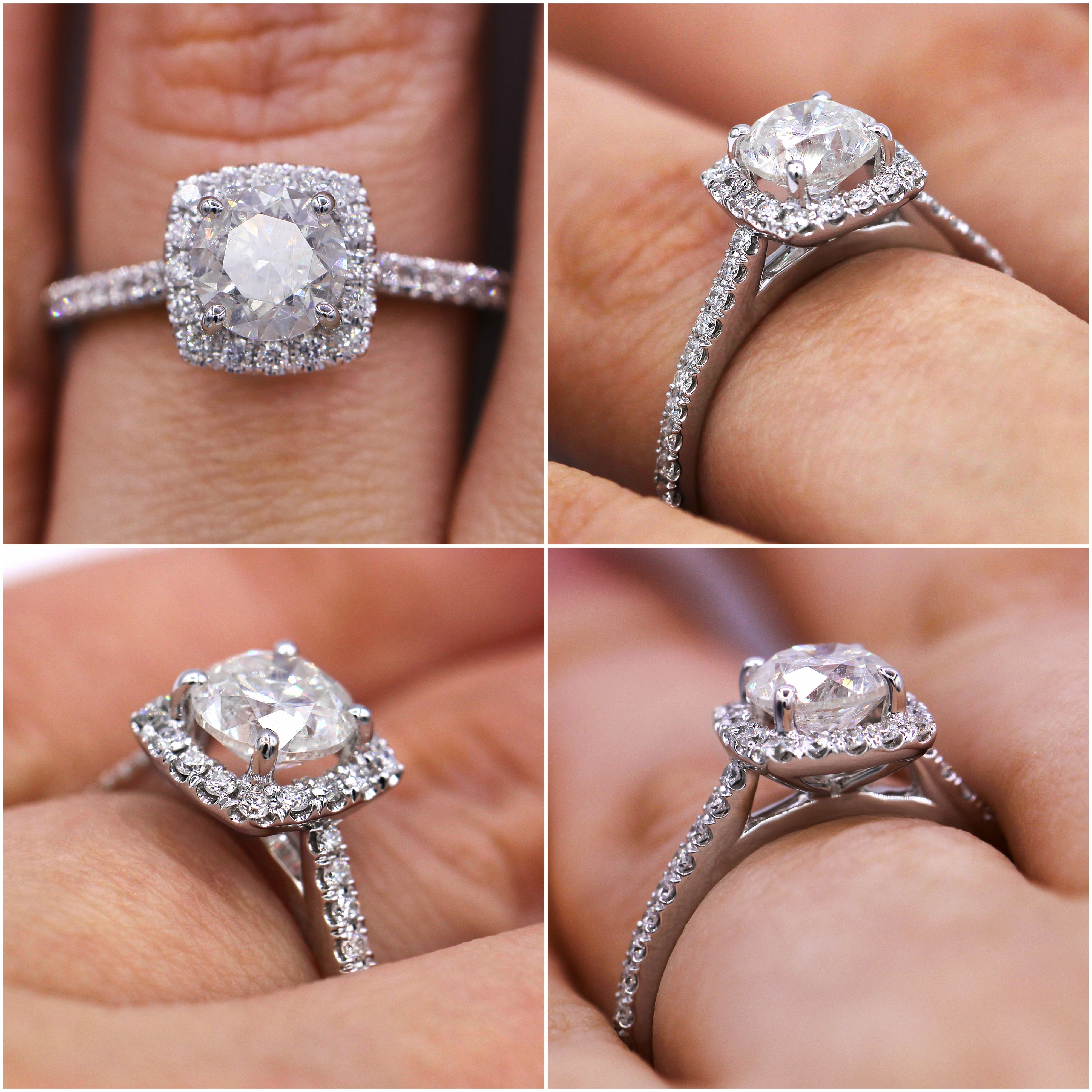 Delicate and beautiful 1.47cts halo diamond ring
