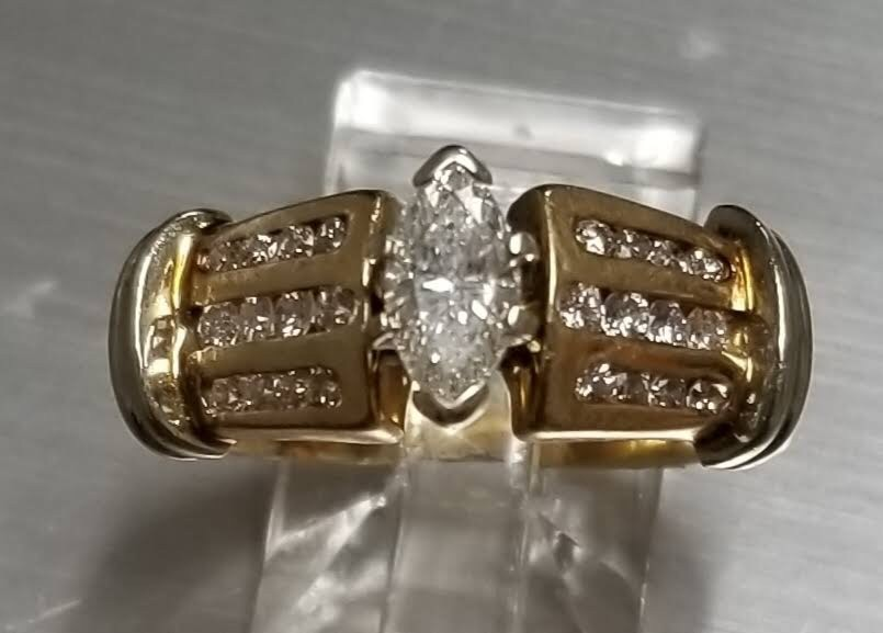 1 carat total wt marquise Art Deco Style