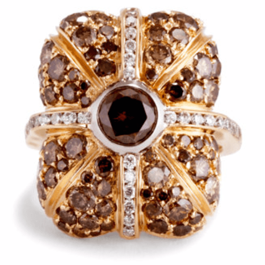 FANCY BROWN DIAMOND COCKTAIL RING WITH COLORED DIAMONDS