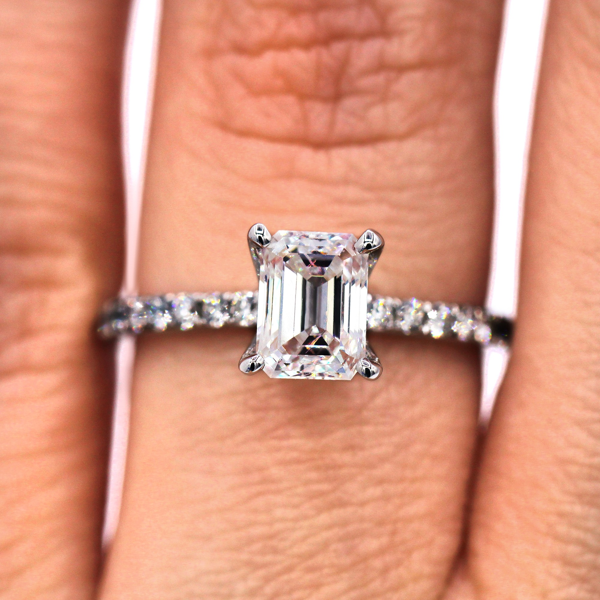 Classic 1.03 Ct Emerald Cut Diamond Engagement Ring