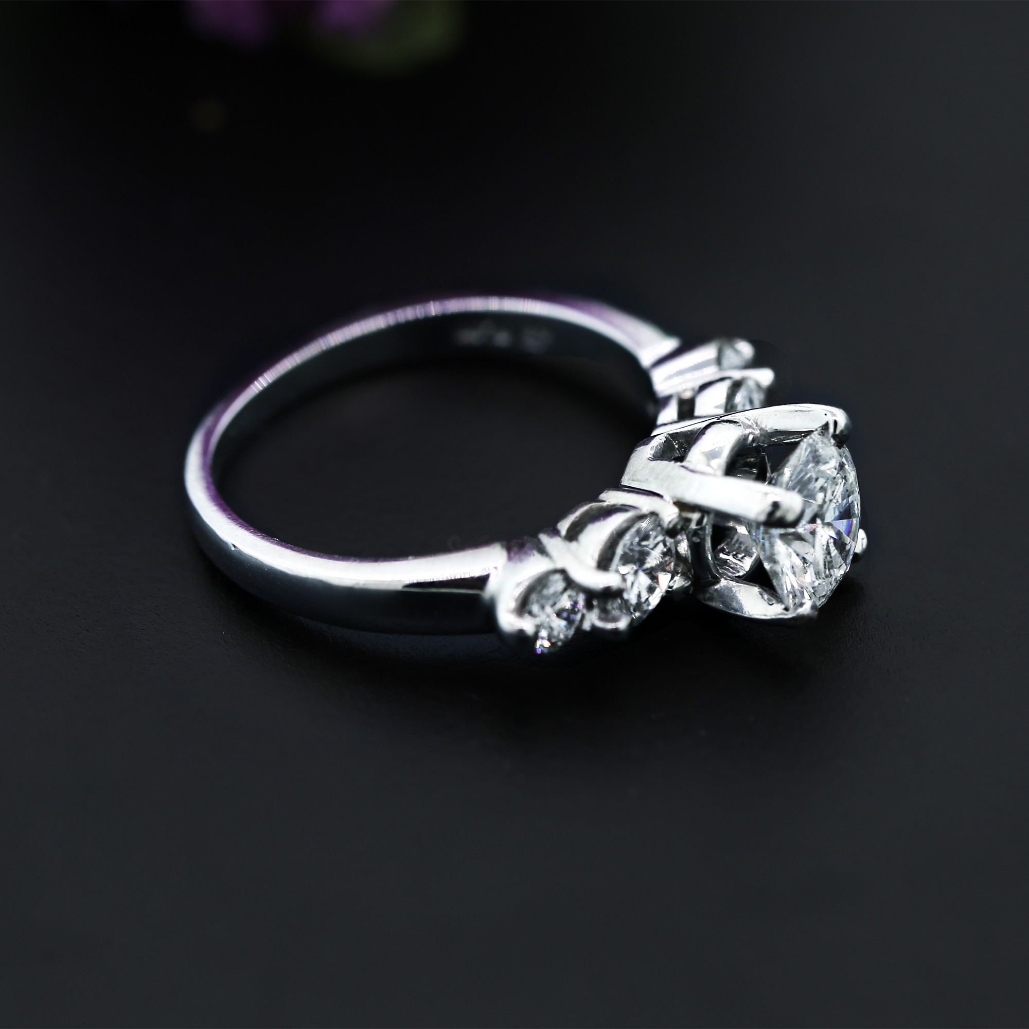 Platinum Engagement Ring with five Round cut Diamonds in 2.06ct TDW