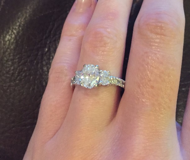 1.24 E VS1 Oval Engagement Ring Set in Platinum with Side Diamonds