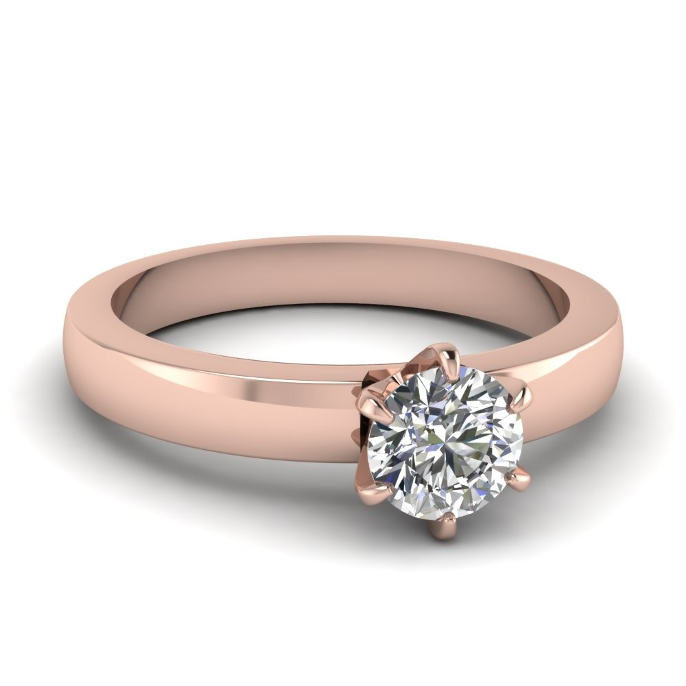 1 Carat Round Diamond Solitaire Engagement Ring in 14k Rose Gold