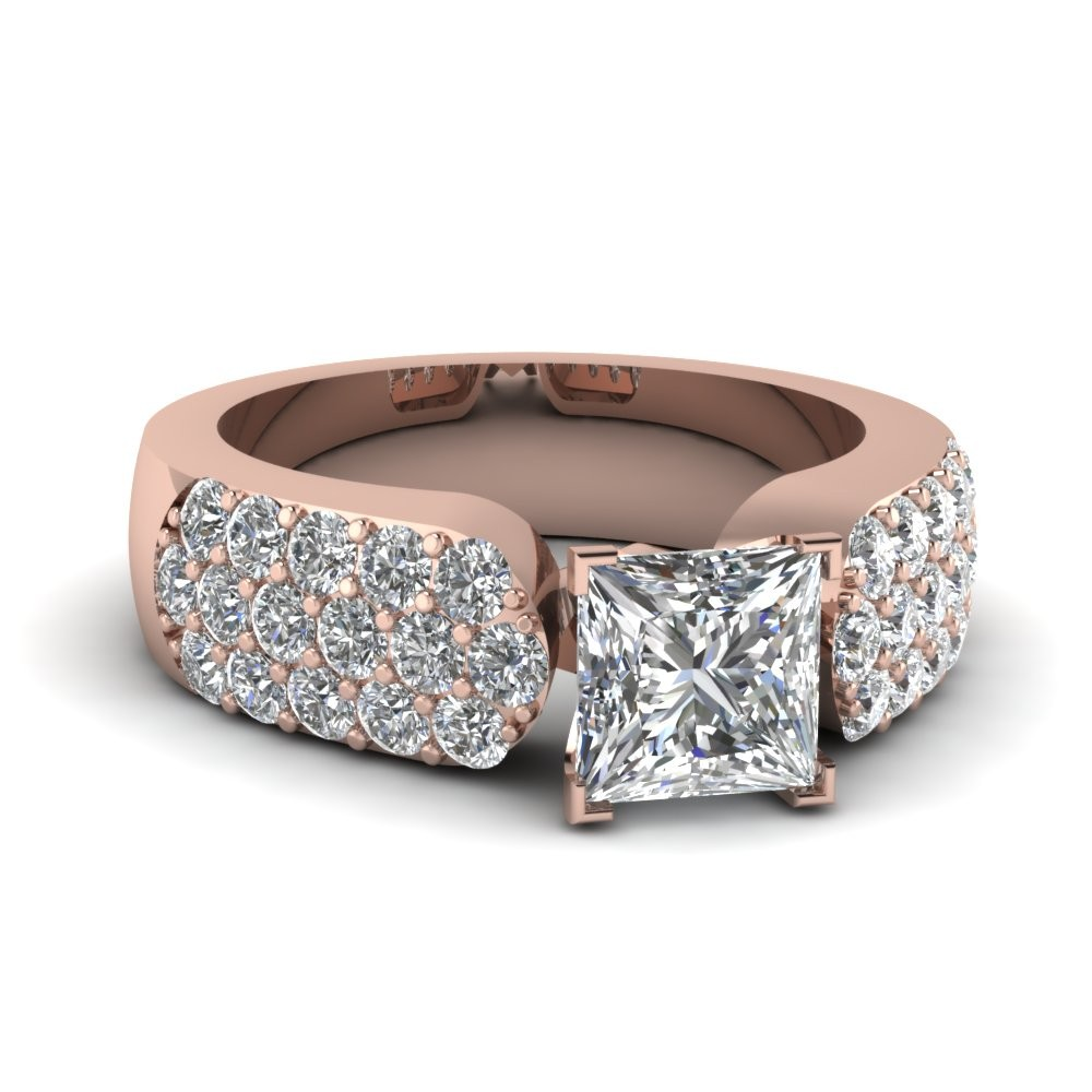 Pave Accented 2tcw. Princess Cut Big Engagement Ring 14k Yellow Gold