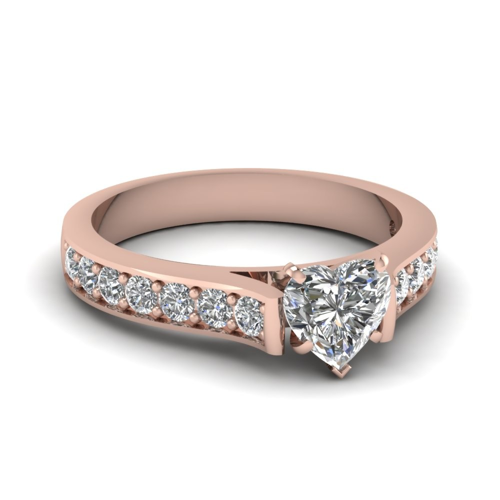Heart Diamond Pave Accent Engagement Ring in 14k Rose Gold 1.25tcw