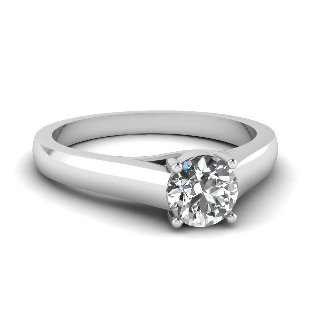 0.75 Carat Round Diamond Solitaire Engagement Ring in 14k White Gold
