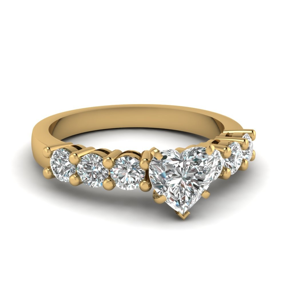 1 Carat Heart Shaped Diamond Engagement Ring in 14k Yellow Gold