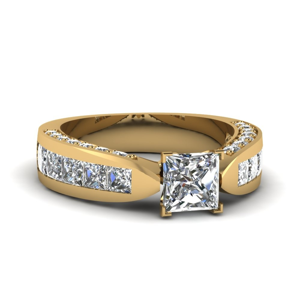 Expensive Wide 2.5 ct. Princess Cut Diamond Engagment Ring