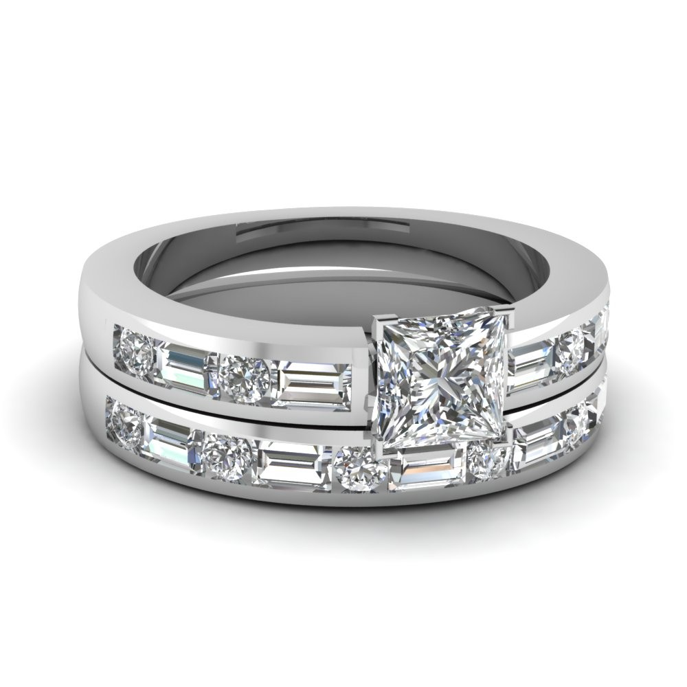Channel Baguette And Round 2 ct. Princess Cut Wedding Set