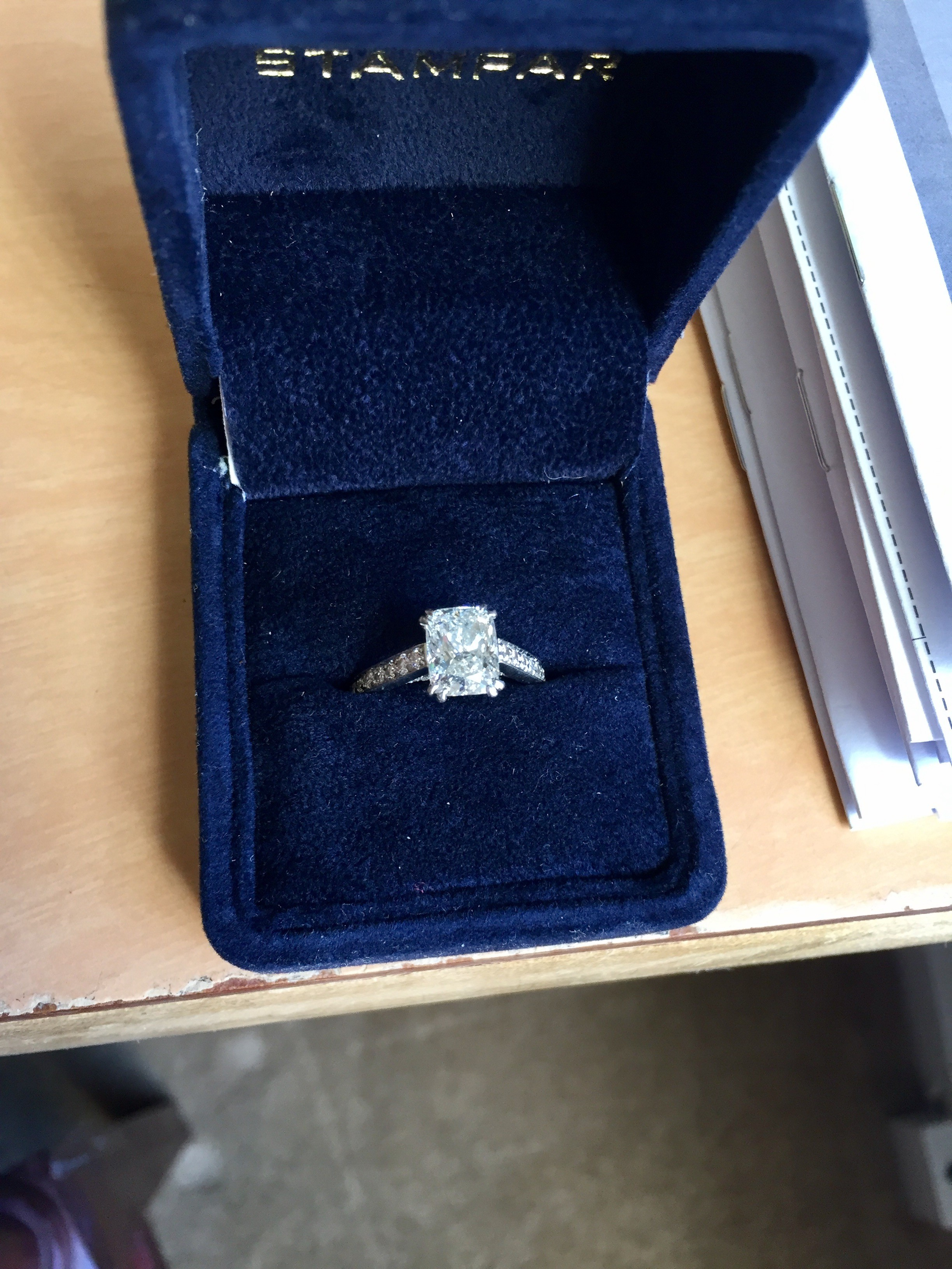 2.22 Cushion Cut with Platinum Setting