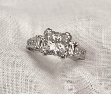 2.04 Center (3.14 Total) Princess Brilliant Cut Tacori Engagement Ring