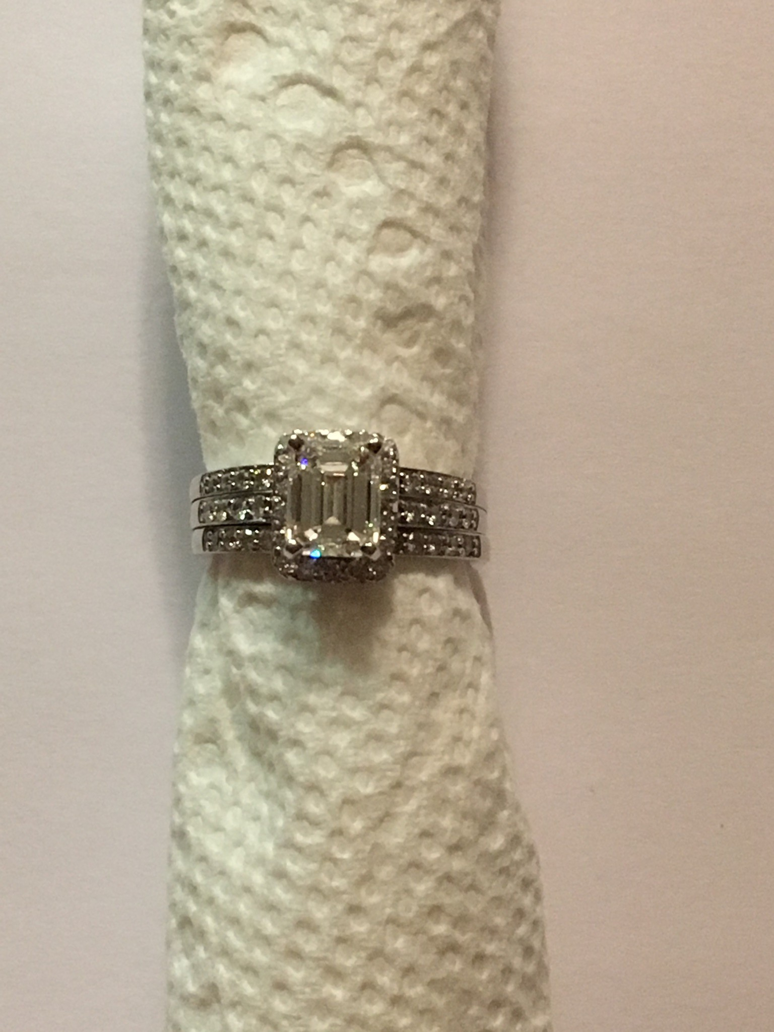 1.66 Carat Emerald Cut Engagement Ring/ Wedding Set