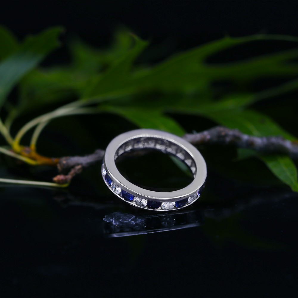 Fantastic Channel set Blue Sapphires and Diamond band