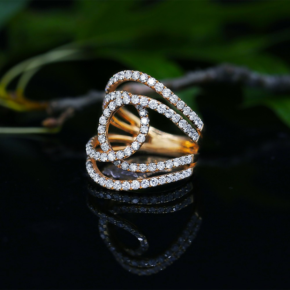 Rose Gold Cocktail Diamond Ring with 1.75ct of total diamond weight