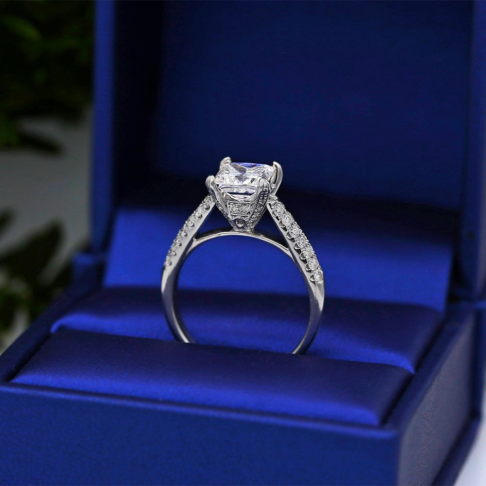 Engagement Ring with Solitaire 1.70ct Princess Cut Diamond