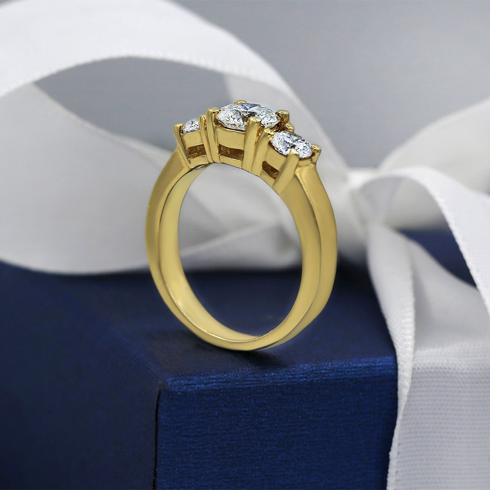 Classic Three-Stone Diamond Engagement Ring crafted in 14k Yellow Gold