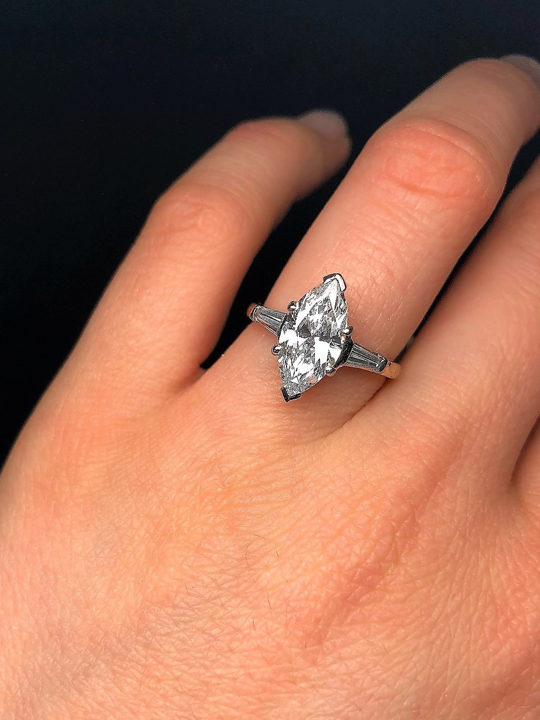 Beautiful GIA certified marquise cut diamond engagement ring