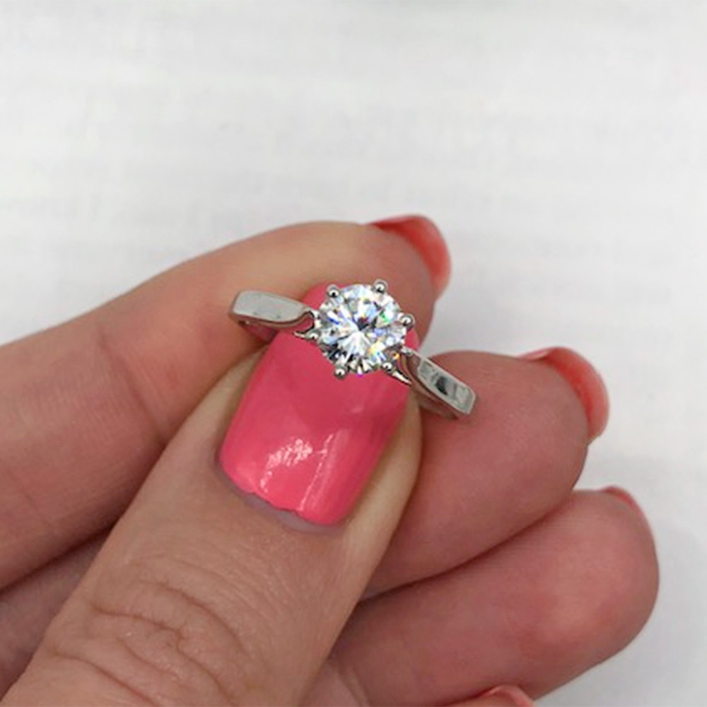 Classic Engagement Ring with Center Natural Round cut Diamond VIDEO