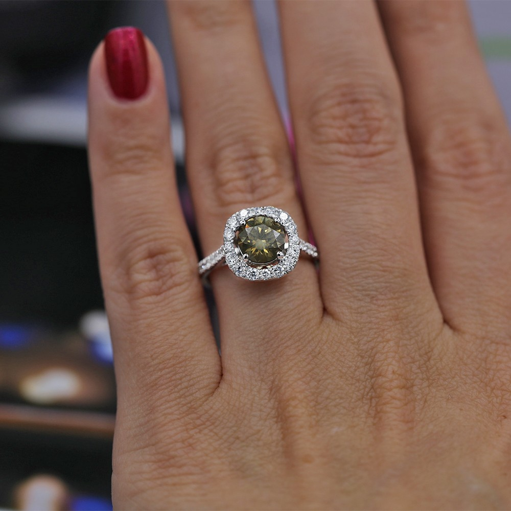 18K WHITE GOLD ENGAGEMENT RING WITH FANCY BROWNISH YELLOW CENTER