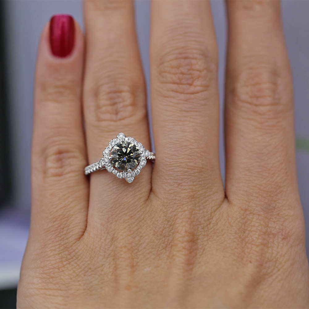 18K white gold engagement ring with fancy dark gray center diamond