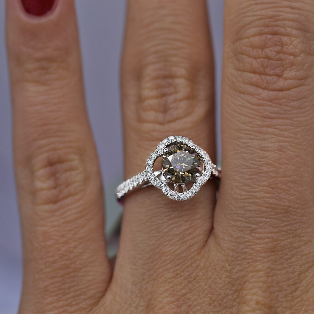 18K white gold engagement ring with fancy brown yellow center diamond