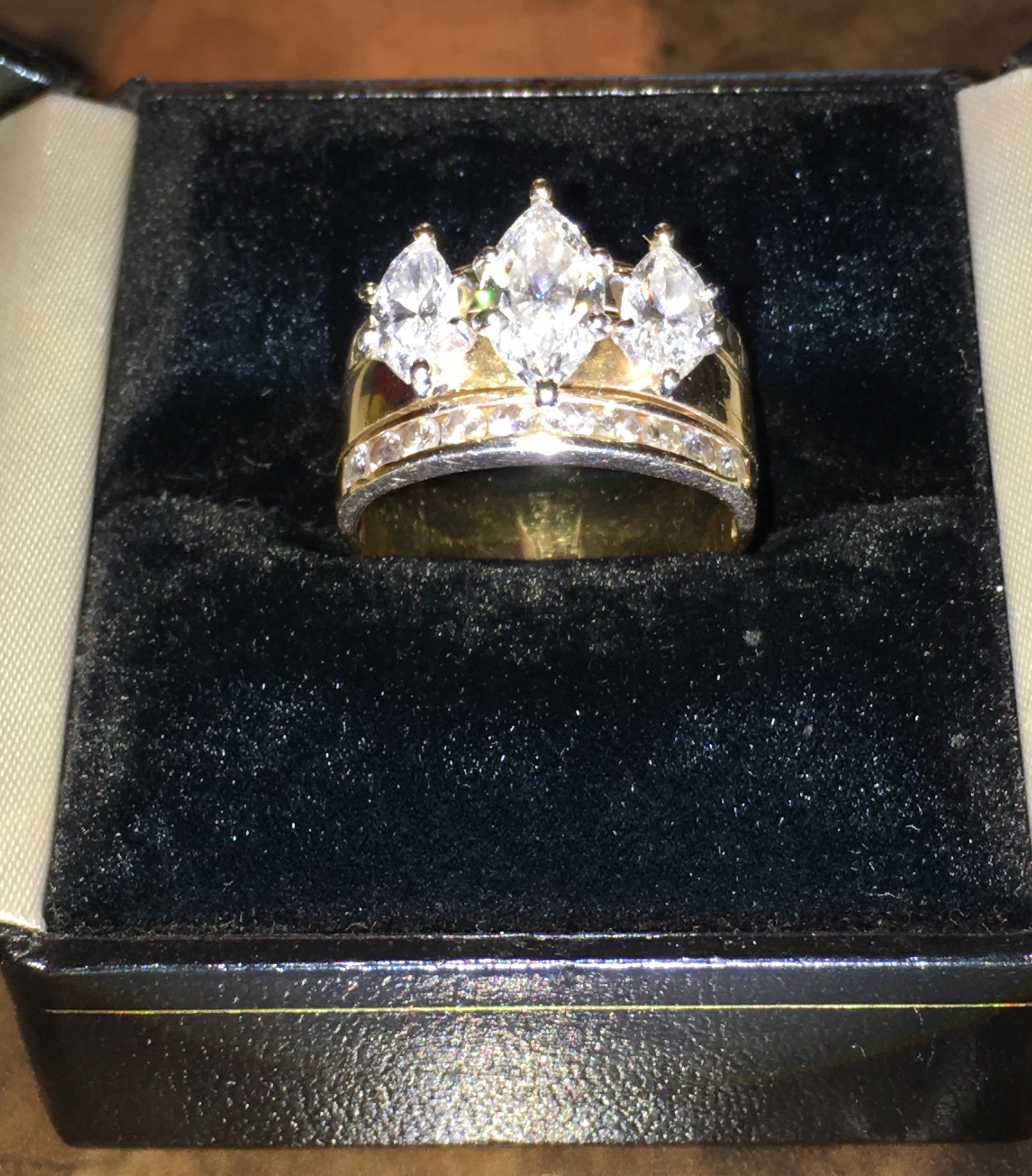 2.76 Carat TW 3 stone Marquise setting with excellent clarity