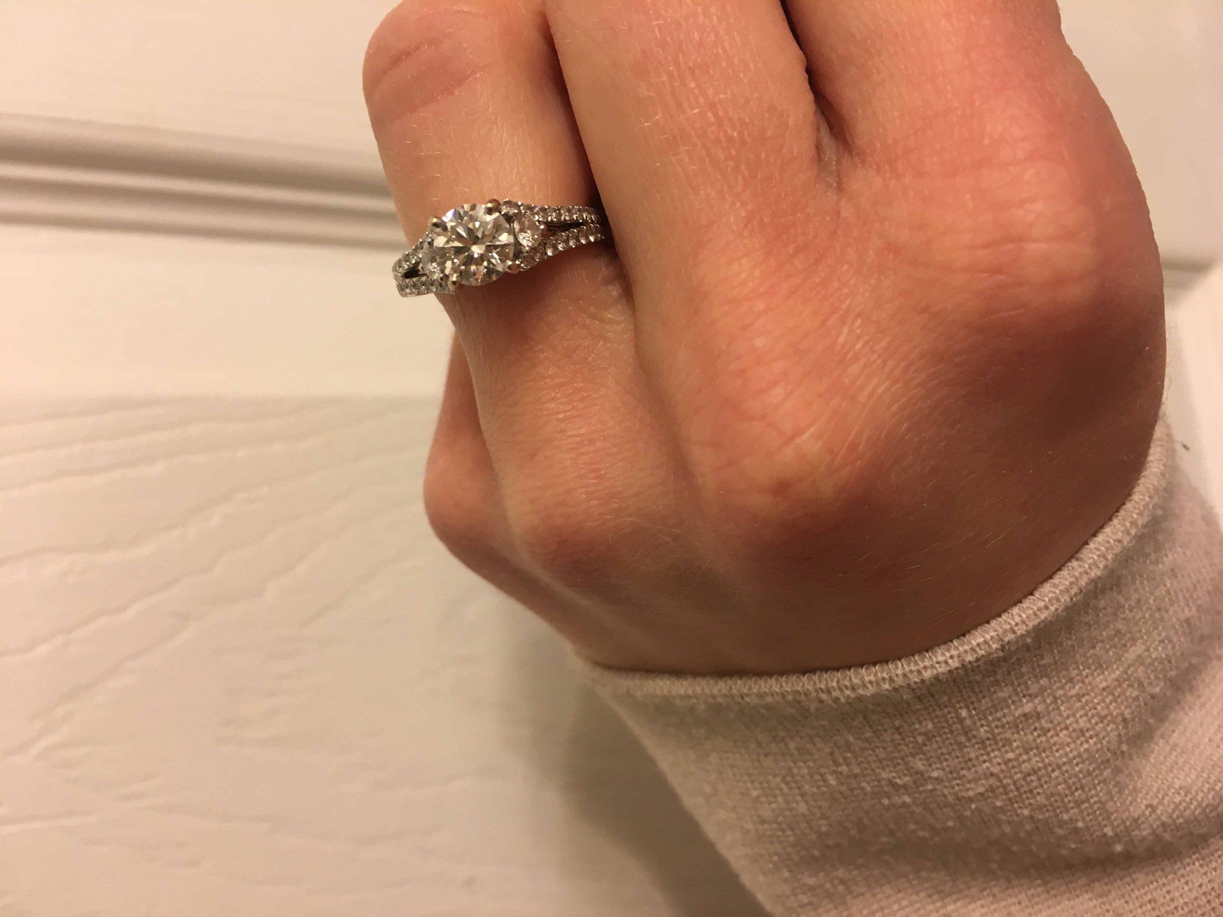 GIA 0.94 center stone, 62 side stones, Split Shank Engagement Ring