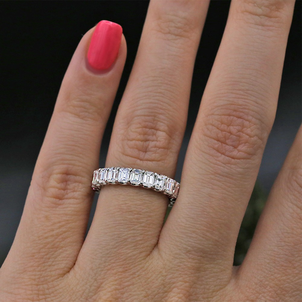 Diamond Eternity Band features 4.00ct of Emerald Diamonds