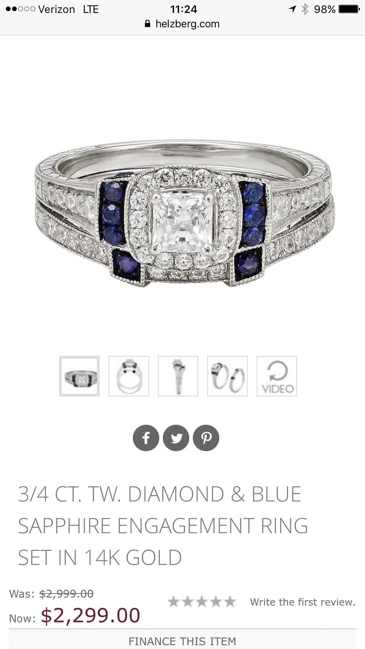 Diamond and Sapphire wedding set