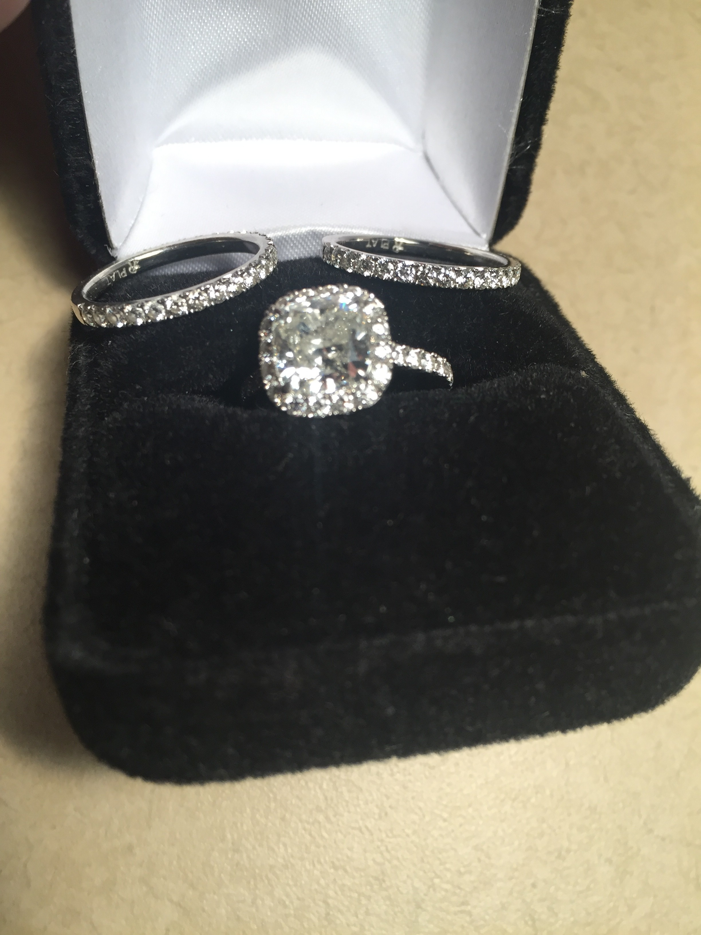 4.35 ct 3 ring combination set w/ 2.44 ct center diamond platinum band