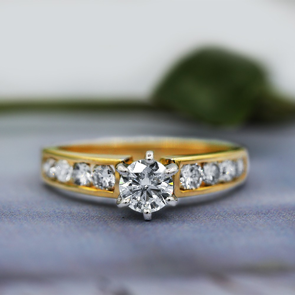 14k Yellow gold Engagement Ring features 1.18ct of Total Diamond Weigh