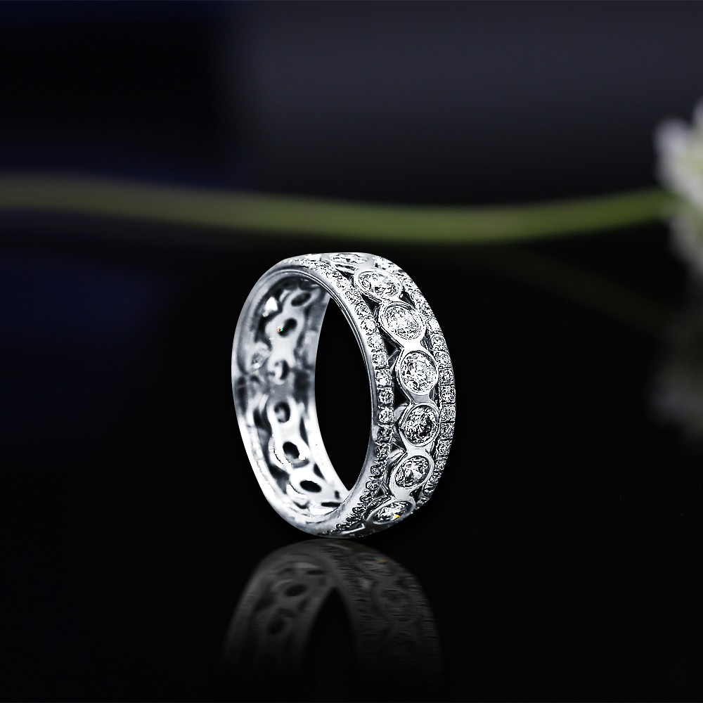 Platinum Eternity band features 2.15ct of Total Diamonds