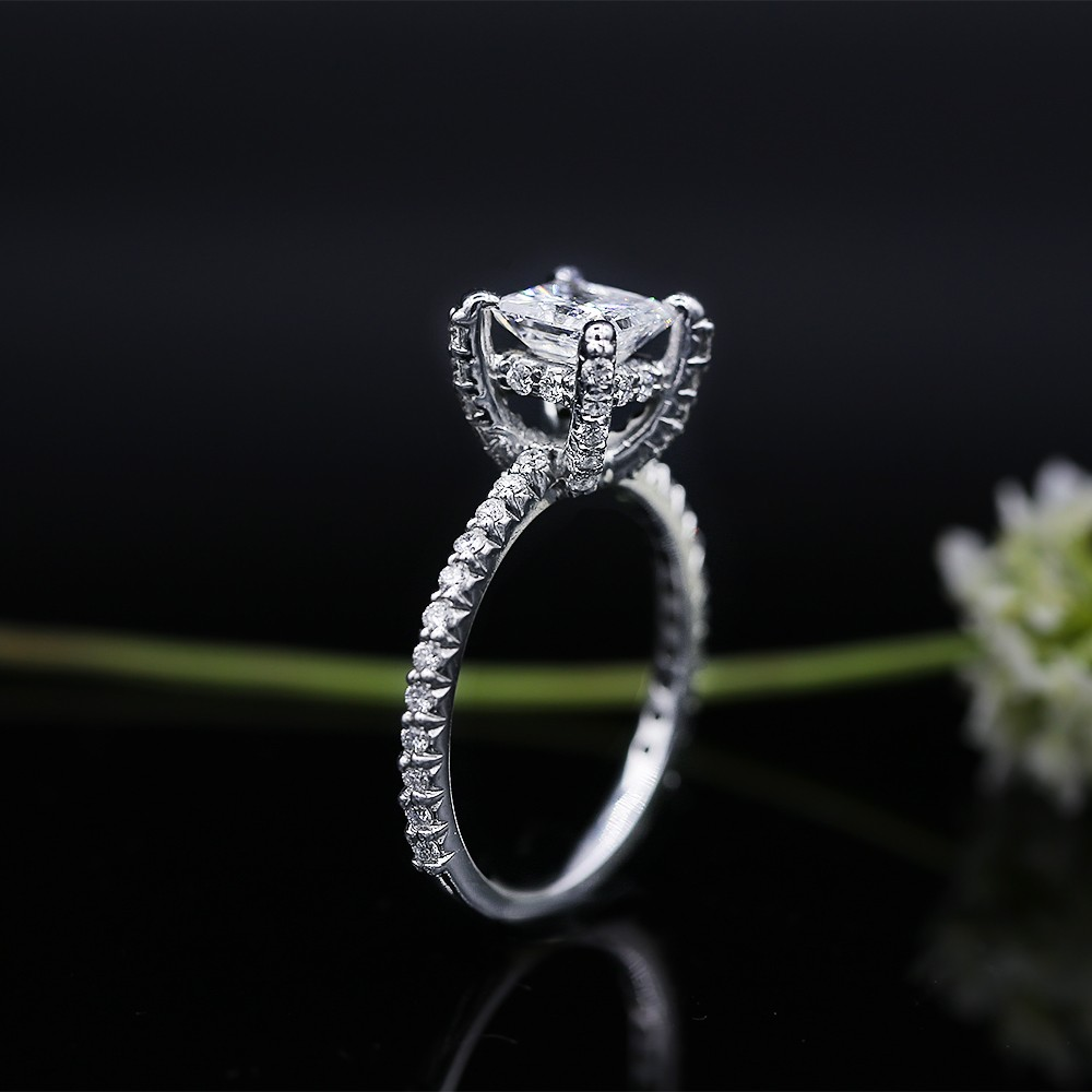 White Gold Engagement ring with center 1.22ct Princess Cut Diamond