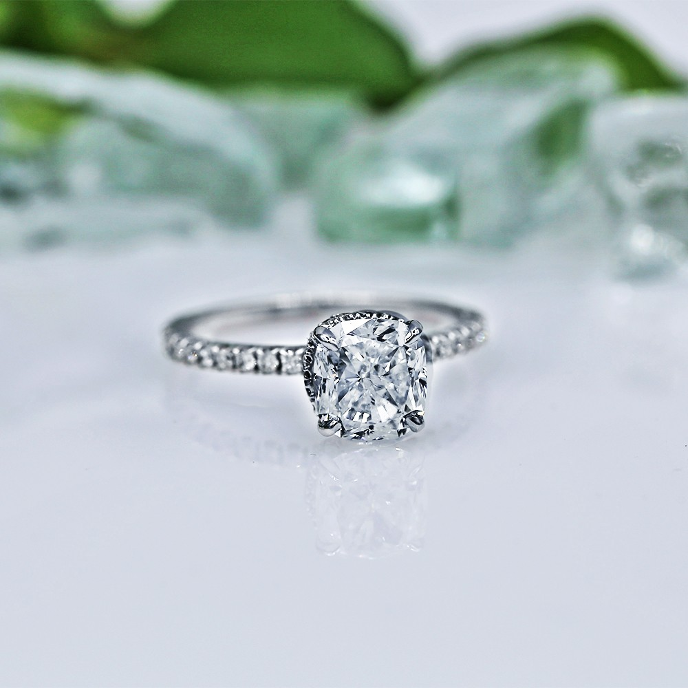 Classic Engagement Ring with Center GIA Cushion 2.17ct Diamond