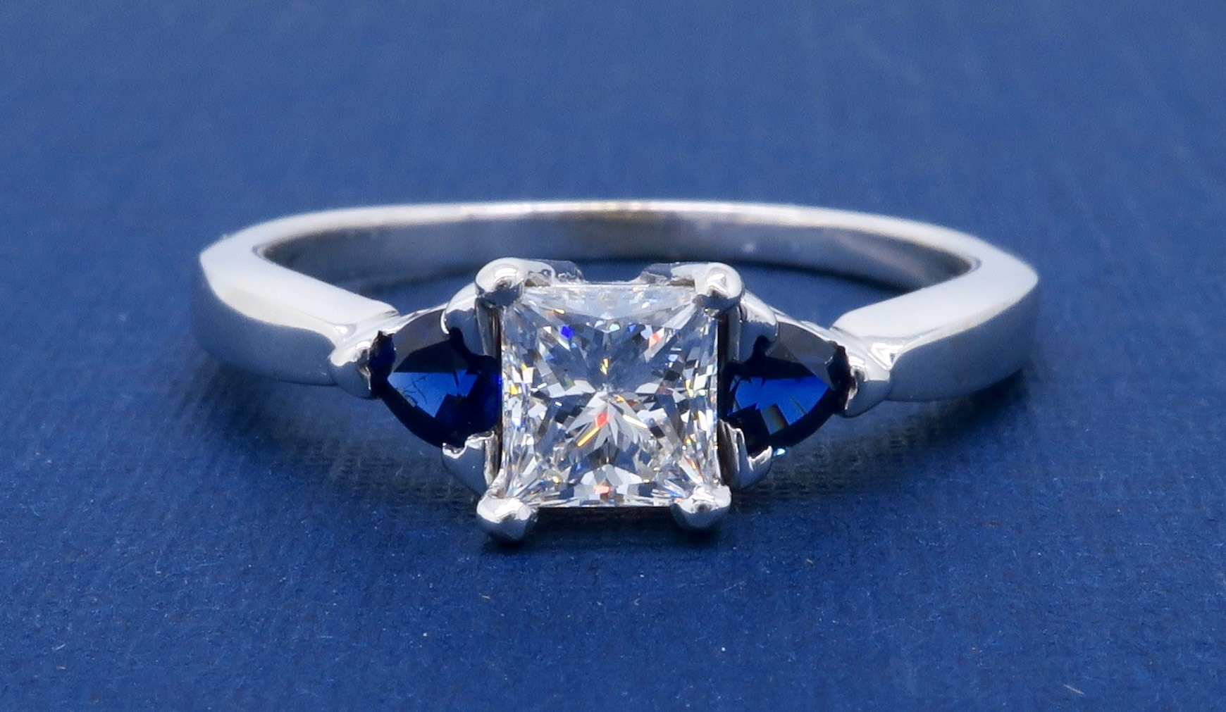 GIA Certified Diamond and Sapphire Engagement Ring