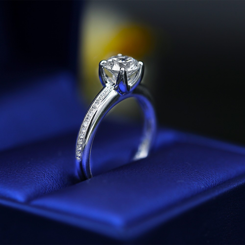 Elegant Engagement Ring with Center Certified 1.23ct Round Diamond