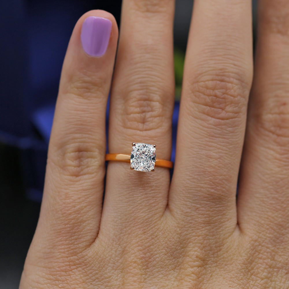 Solitaire Rose Gold Engagement Ring with 1.72ct Cushion Diamond