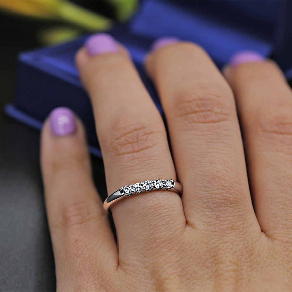White Gold Engagement ring features 0.30ct in five Round cut Diamonds
