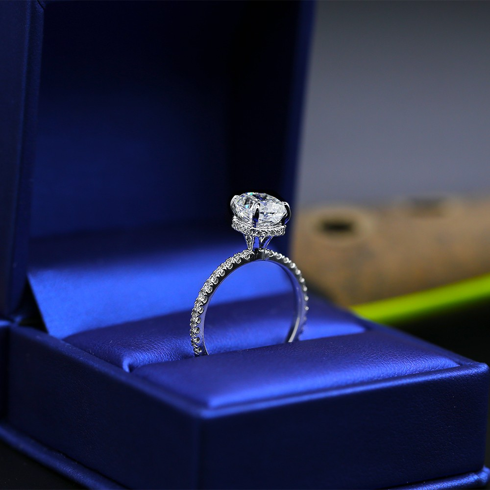 Engagement Ring with Center GIA Cushion 2.17ct Diamond
